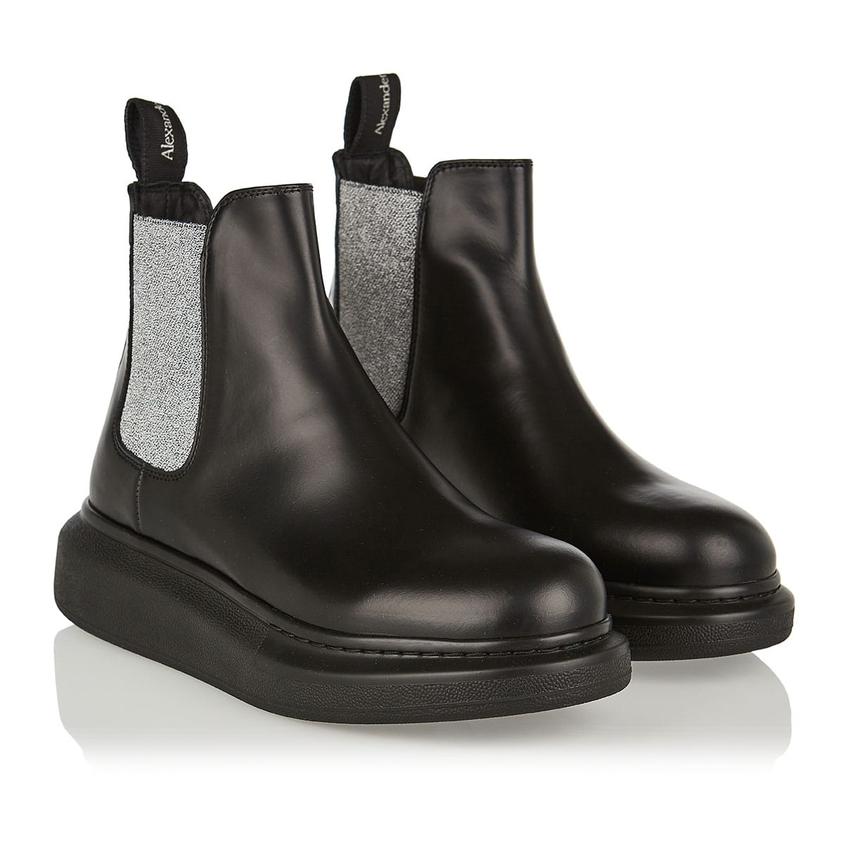 Lurex and leather Chelsea boots