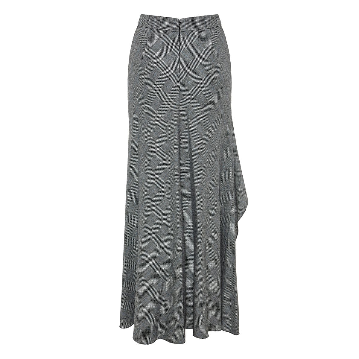 Checked asymmetric ruffled skirt