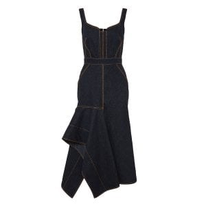 Asymmetric ruffled denim dress