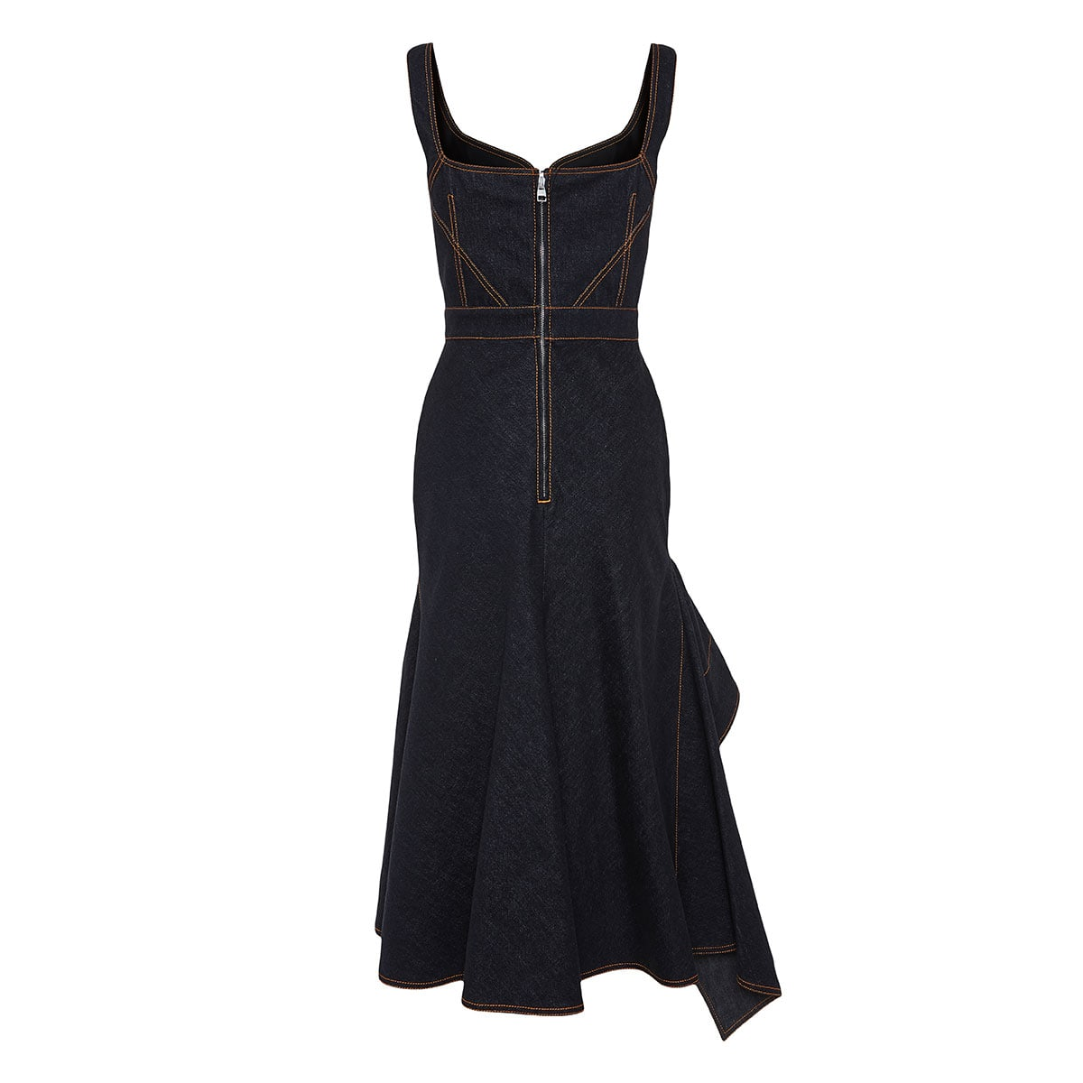 Asymmetric ruffled denim dress