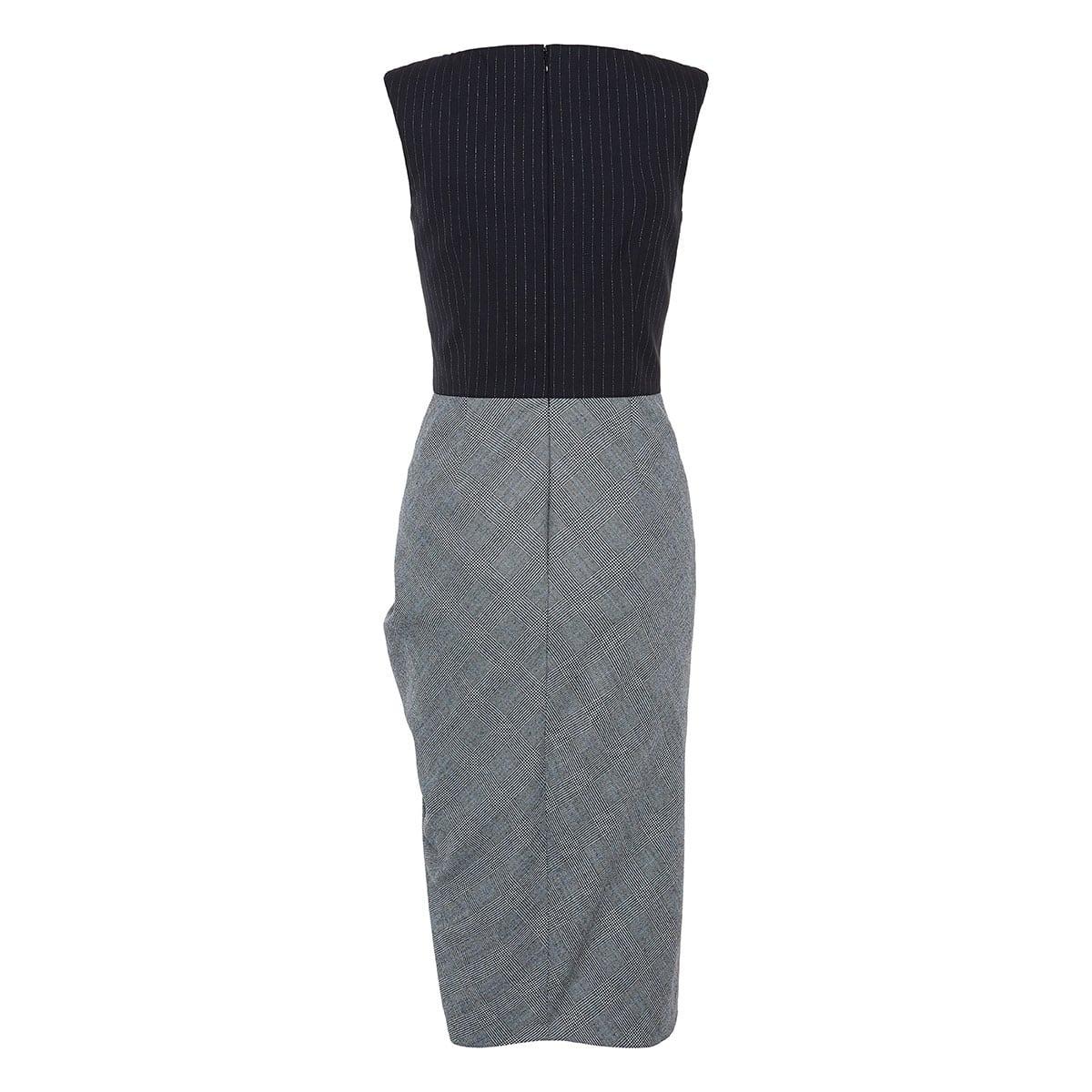 Two-tone draped midi dress