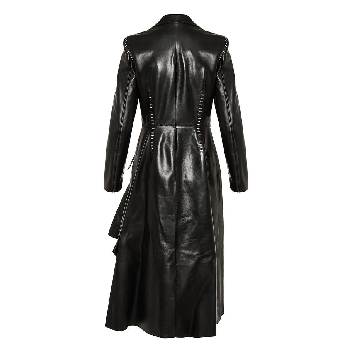 Studded asymmetric leather coat