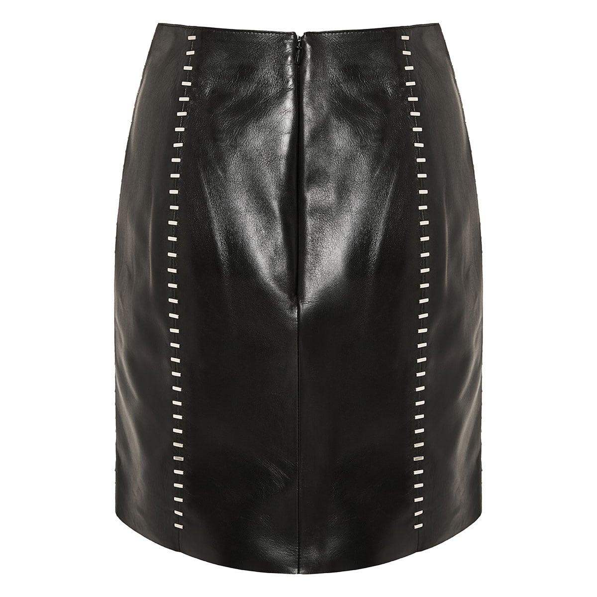 Studded leather mini skirt