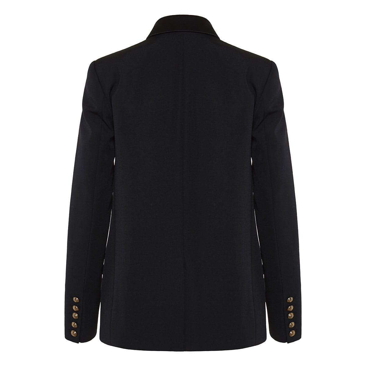 Satin-trimmed double-breasted blazer