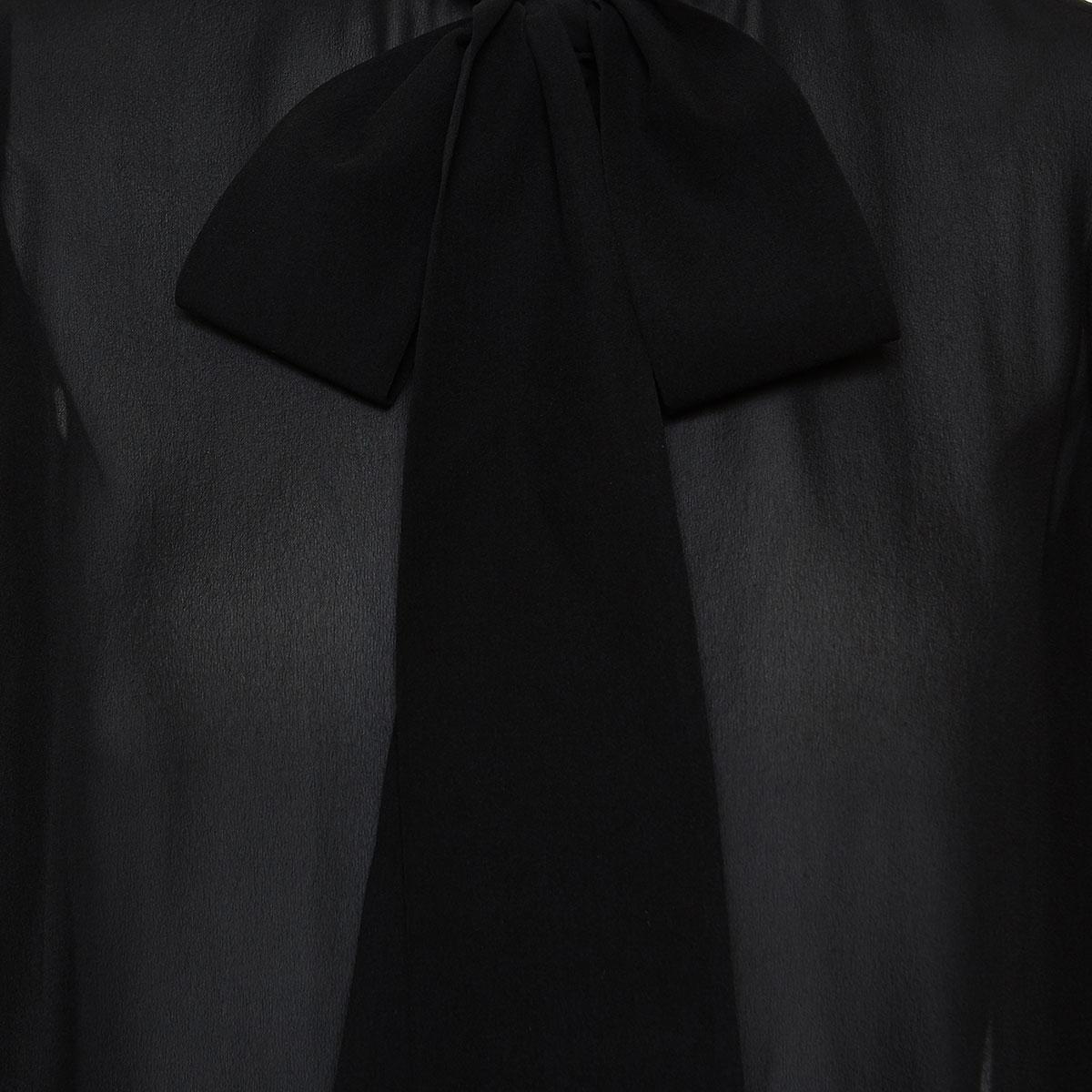 Bow-tie balloon-sleeved shirt