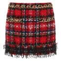 Chain-embellished tweed mini skirt