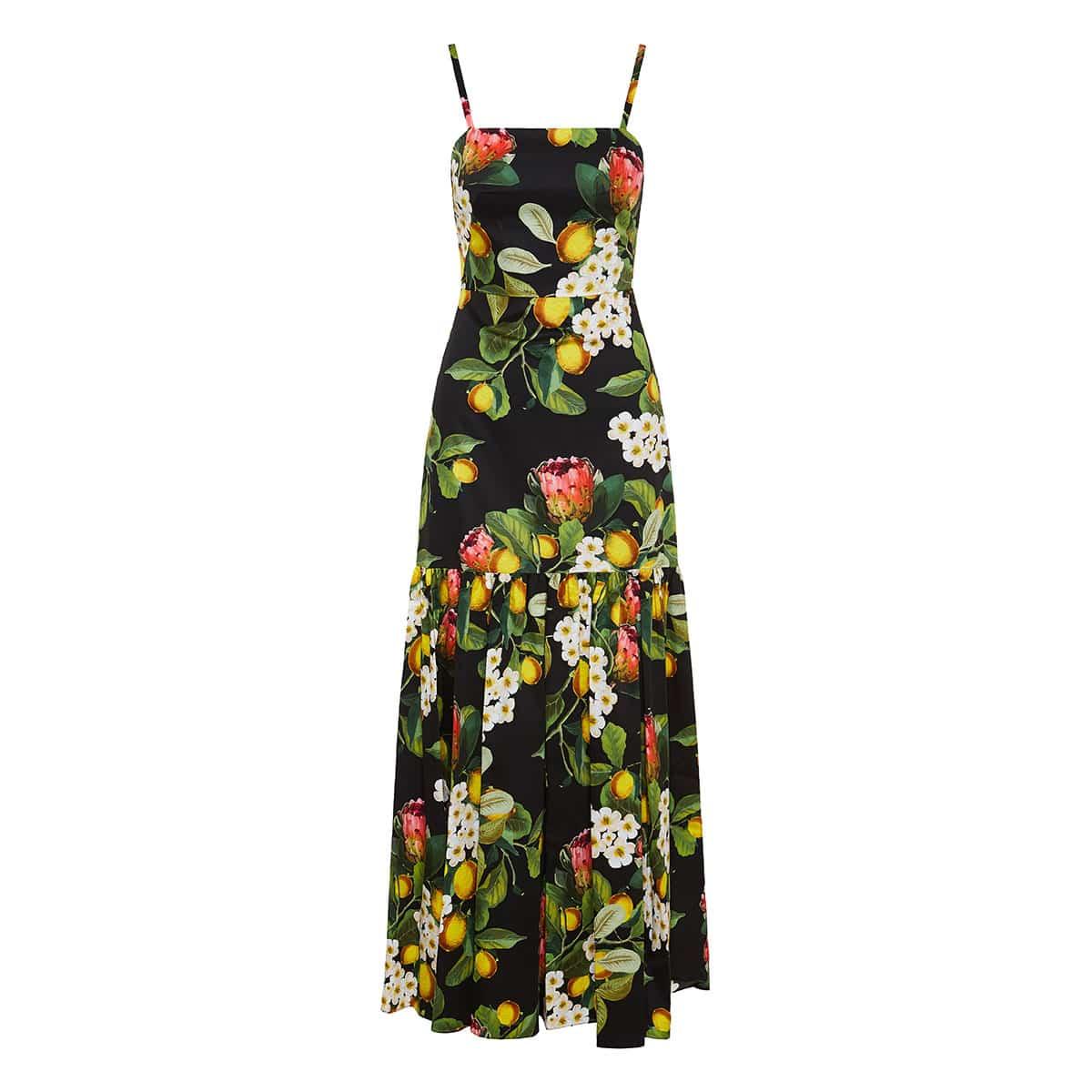 Cordelia long printed poplin dress