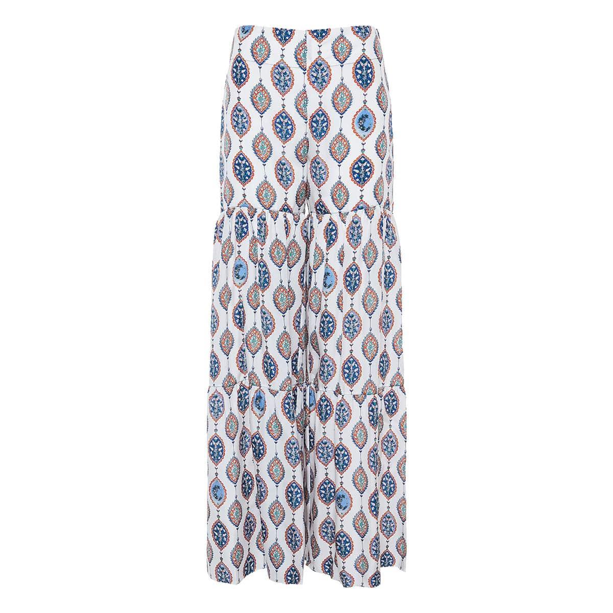 Ceramic print tiered palazzo trousers