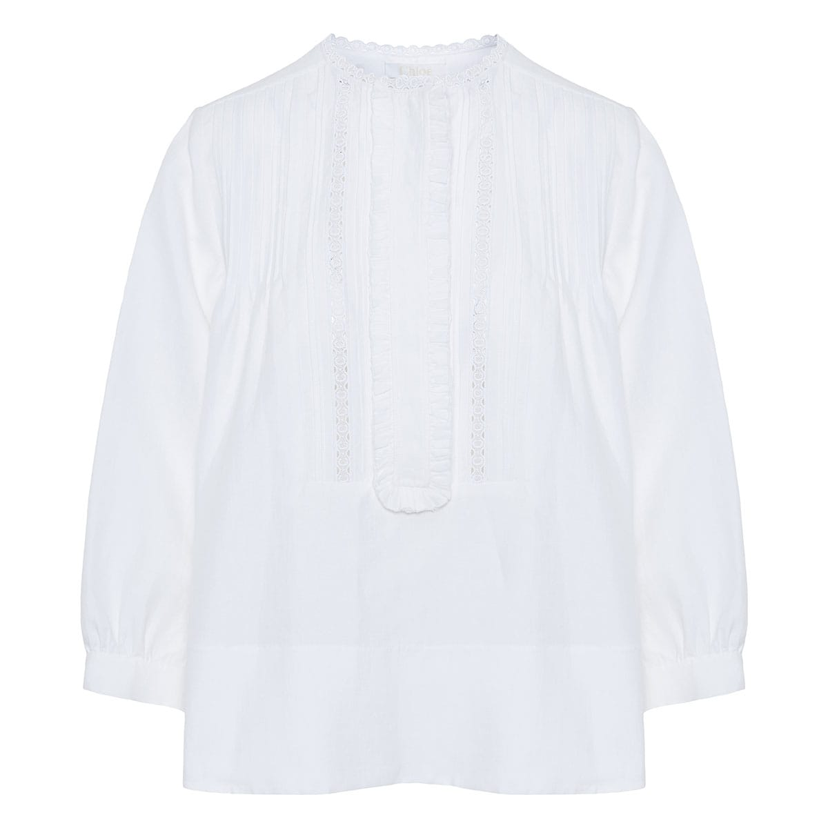 Lace-paneled pintuck linen blouse