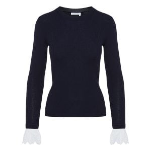 Ribbed sweater with frilled cuffs