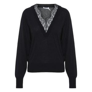 Lace-trimmed wool sweater