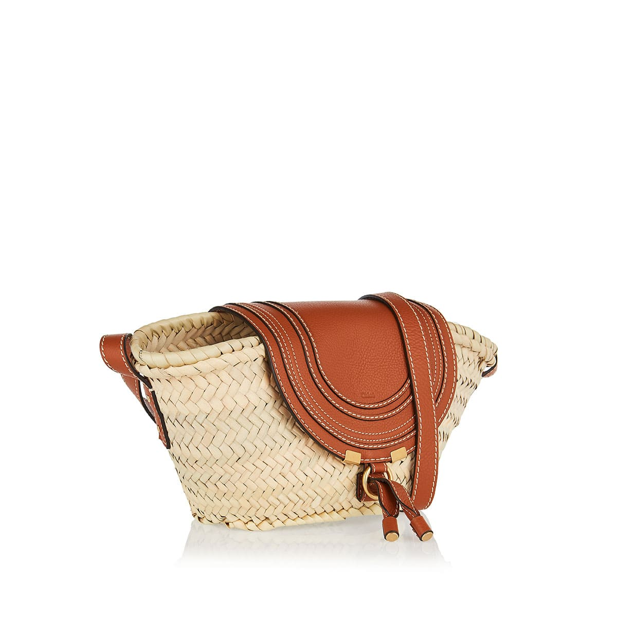 Marcie mini raffia shoulder bag