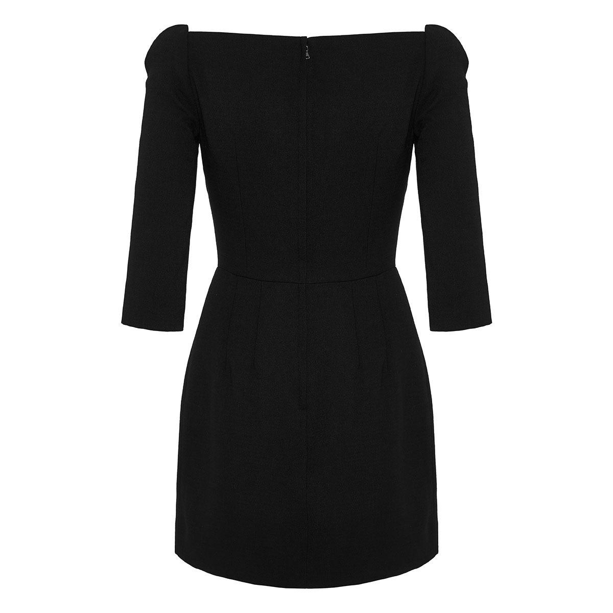 Square-neck crepe mini dress