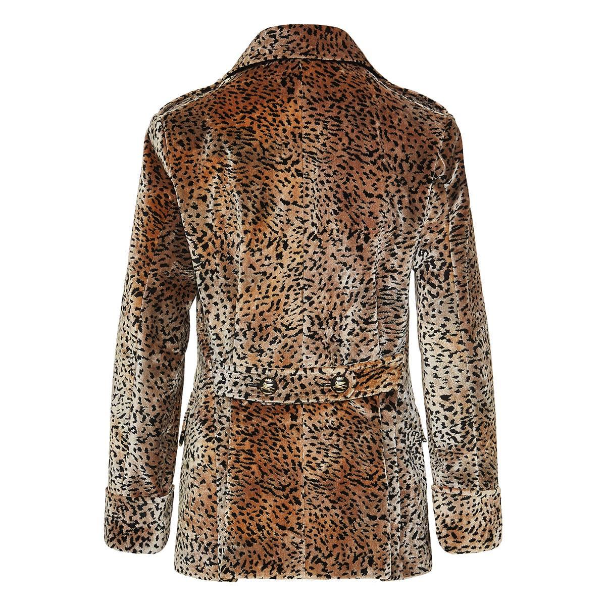 Double-breasted leopard velvet coat