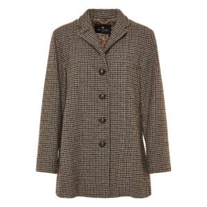 Houndstooth wool coat