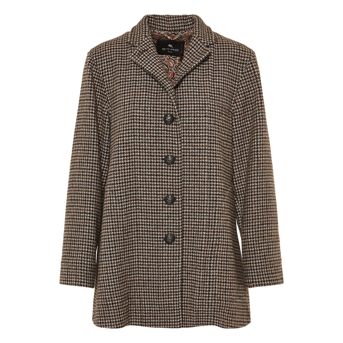 Houndstooth wool coat
