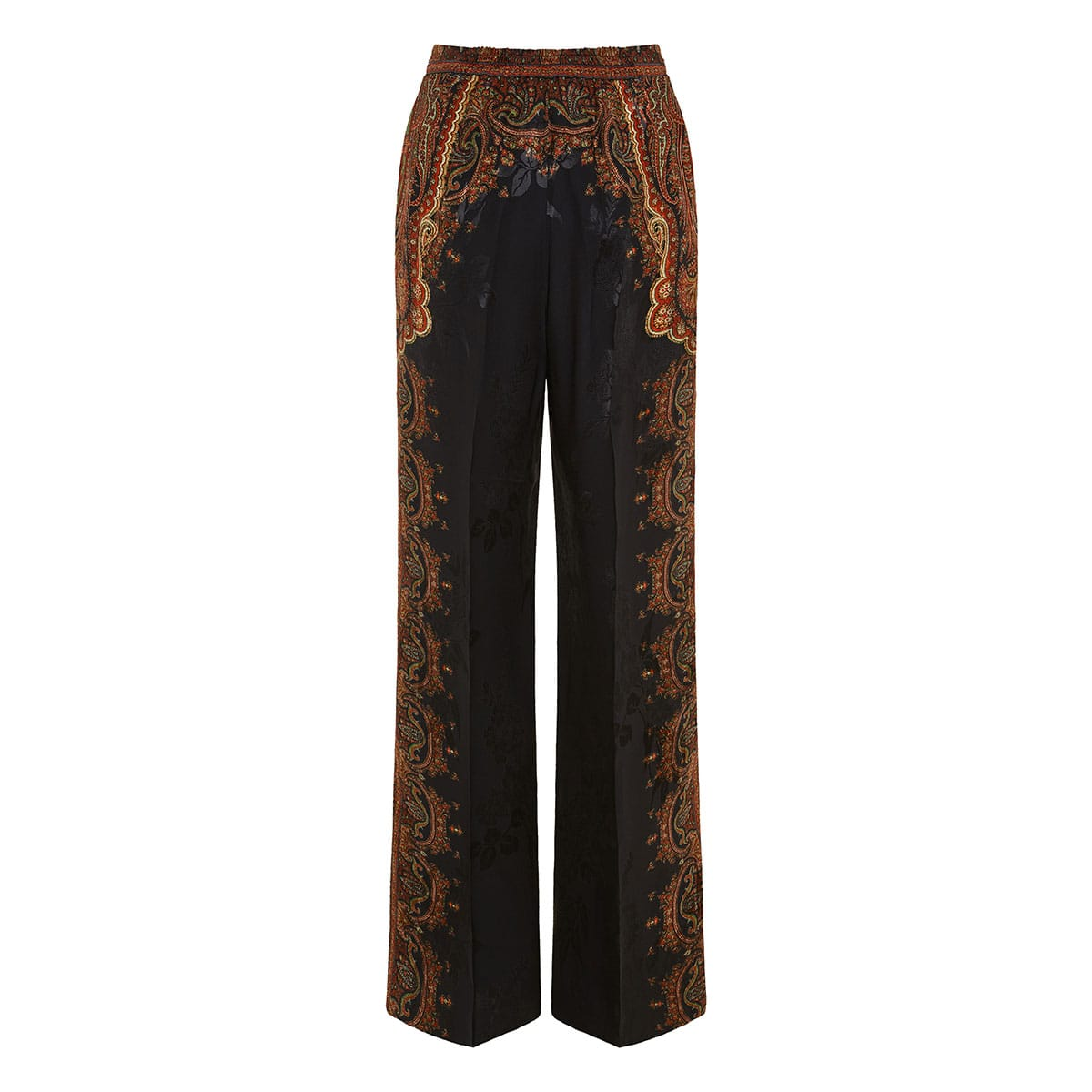 Wide-leg printed jacquard trousers