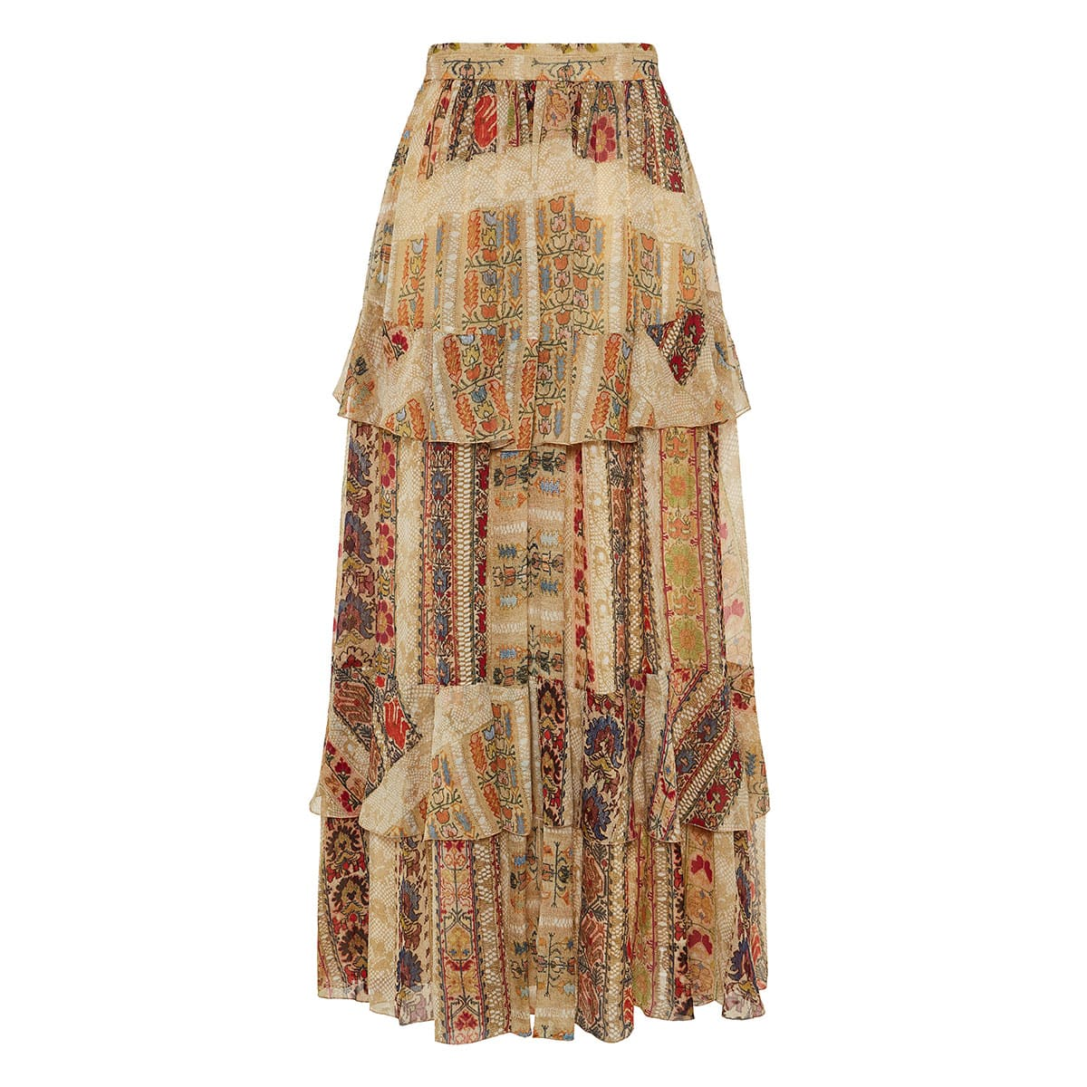 Long printed tiered skirt