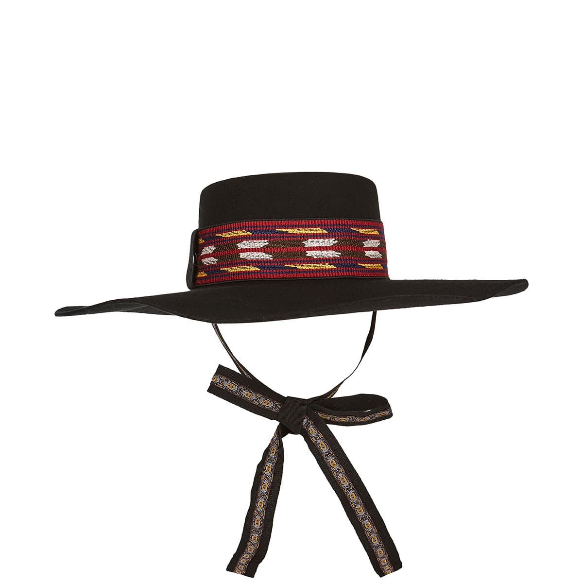 Felt hat with embroidered ribbon