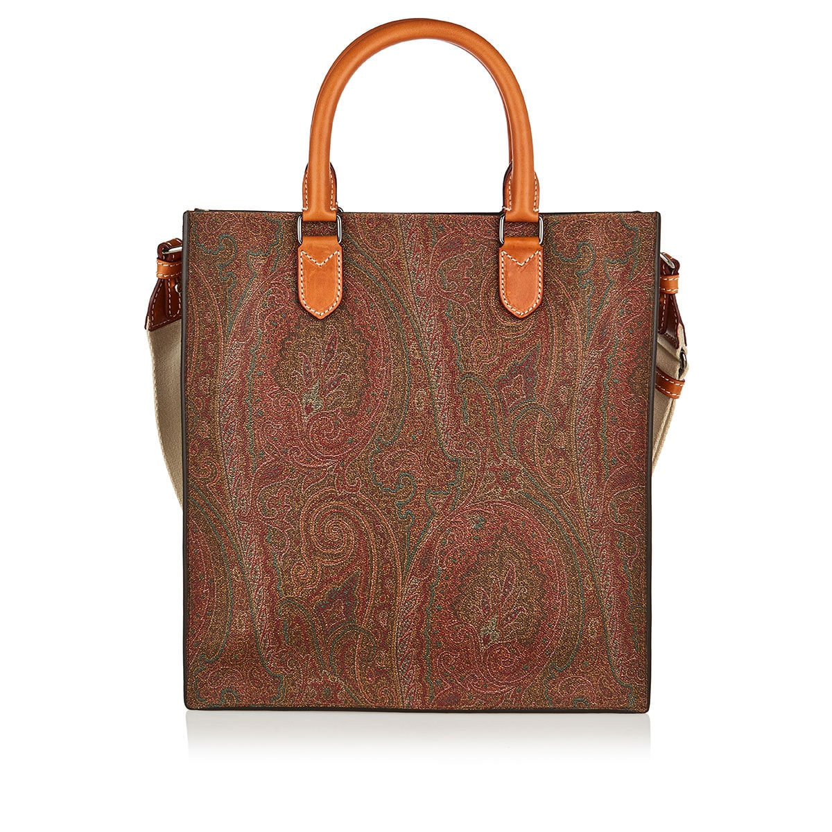 Studded paisley leather tote