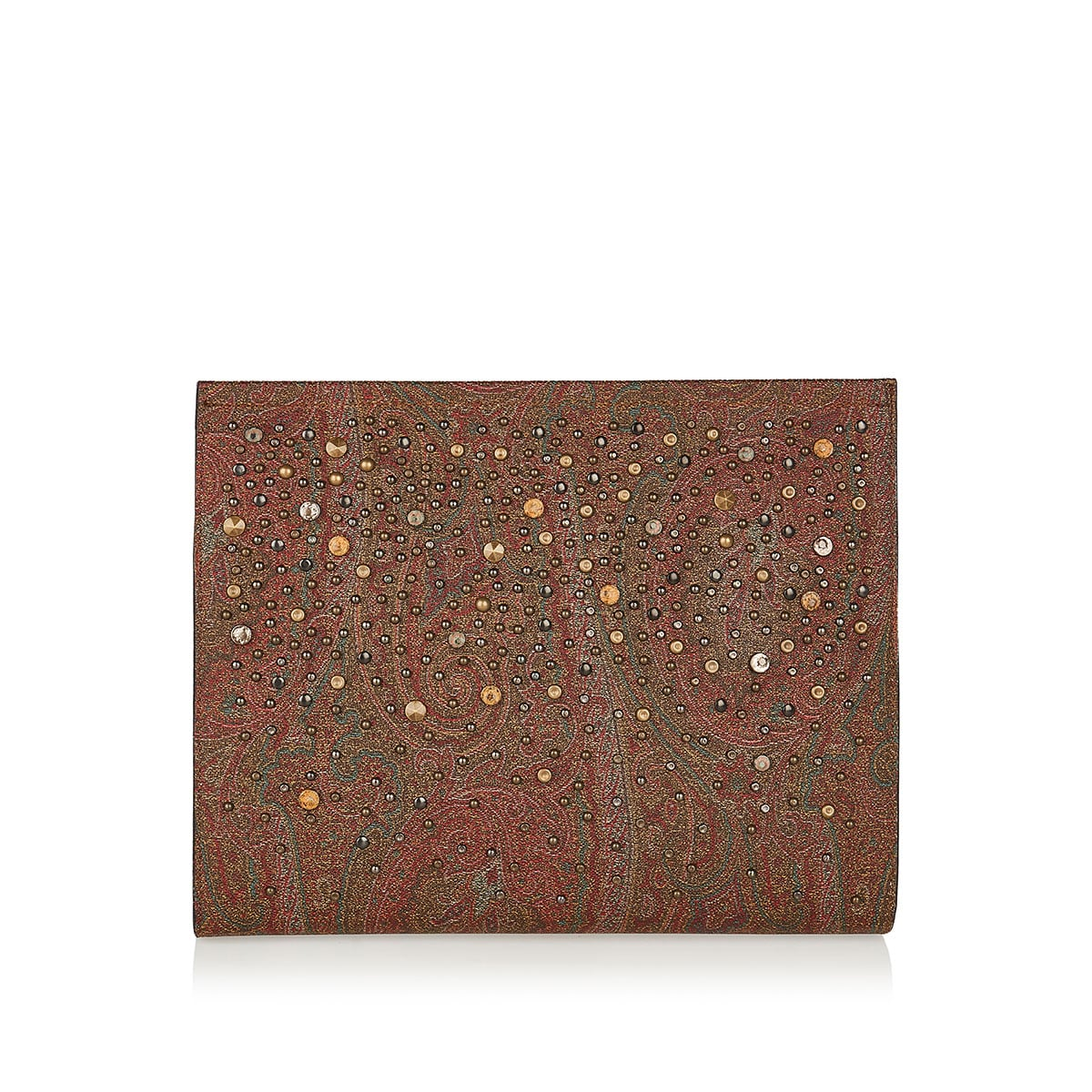 Studded paisley leather pouch