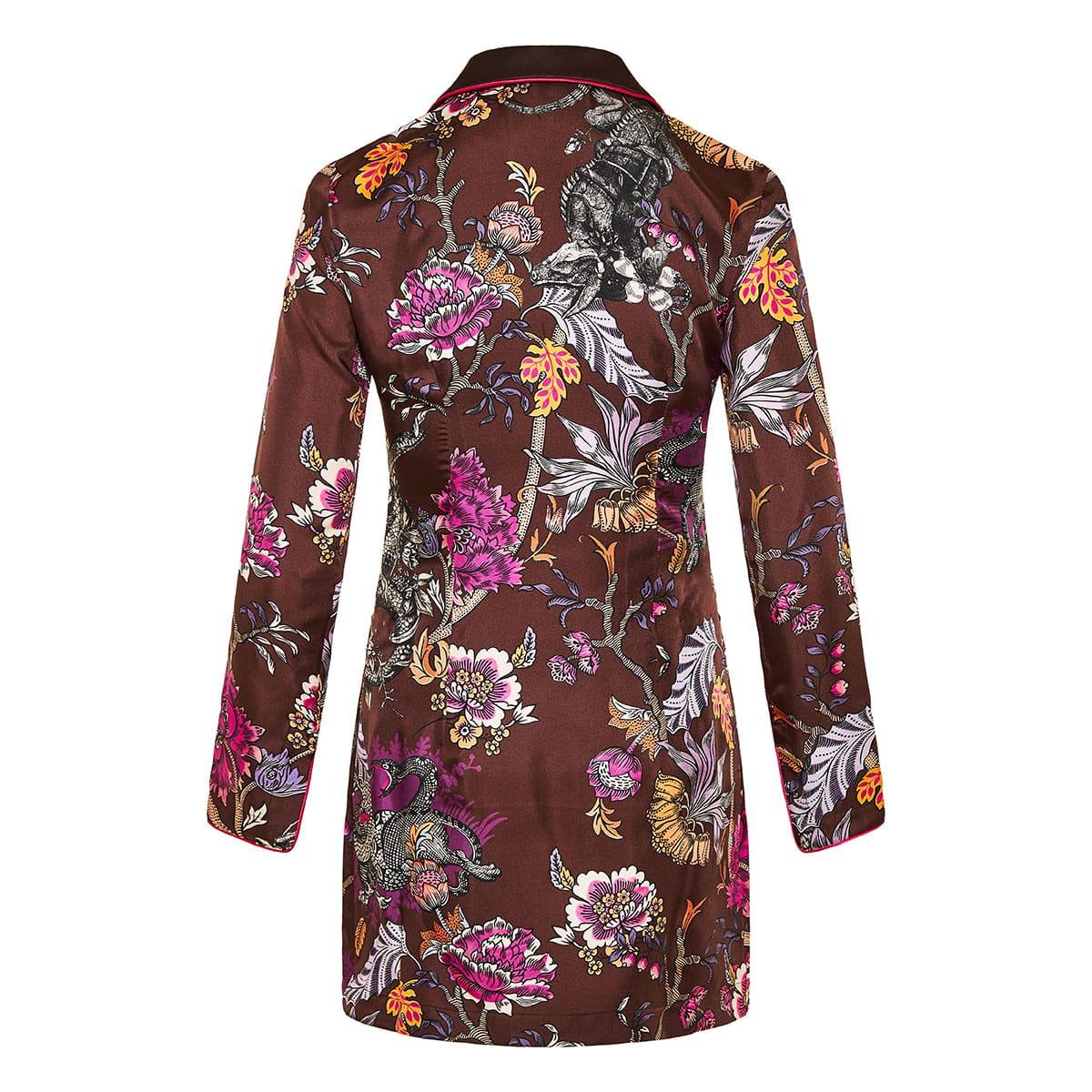 Printed silk pajama jacket