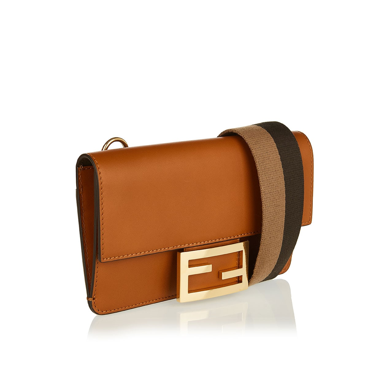 Flat baguette leather mini bag