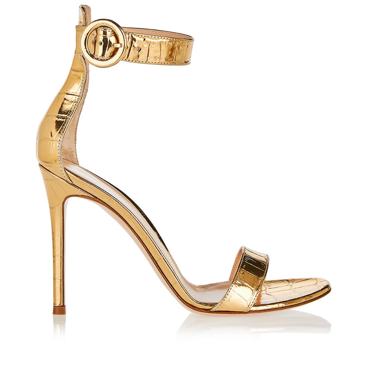 Portofino 105 croc-effect metallic sandals