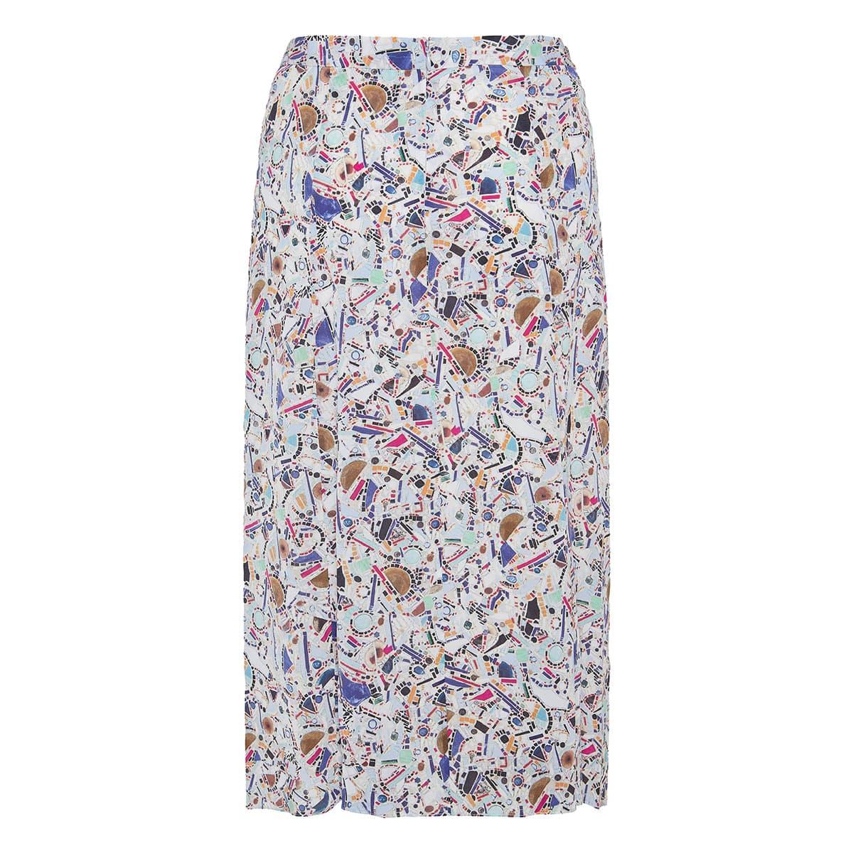 Cacia asymmetric printed skirt