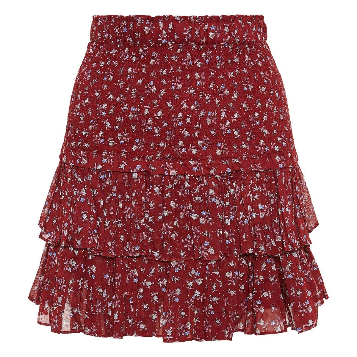 Naomi floral ruffled mini skirt