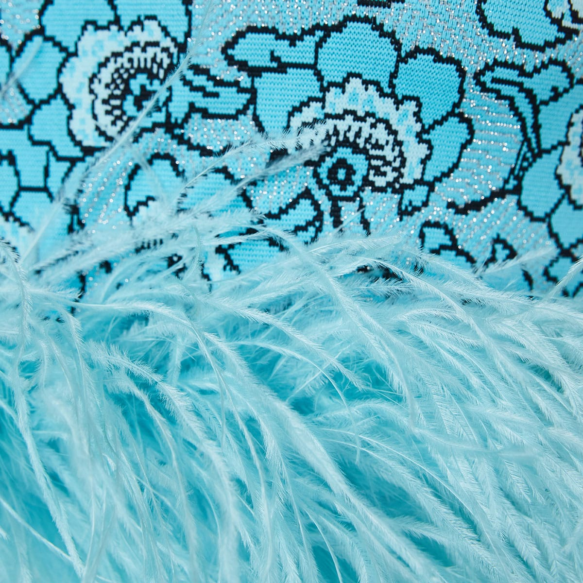 Lily floral jacquard feather top
