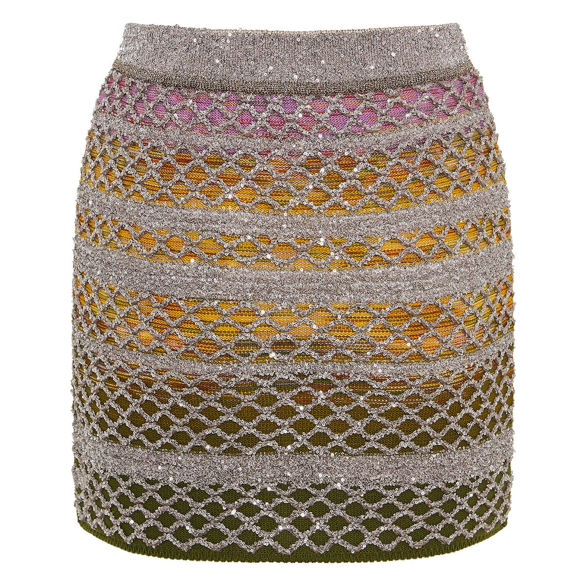 Sequin lurex knitted mini skirt