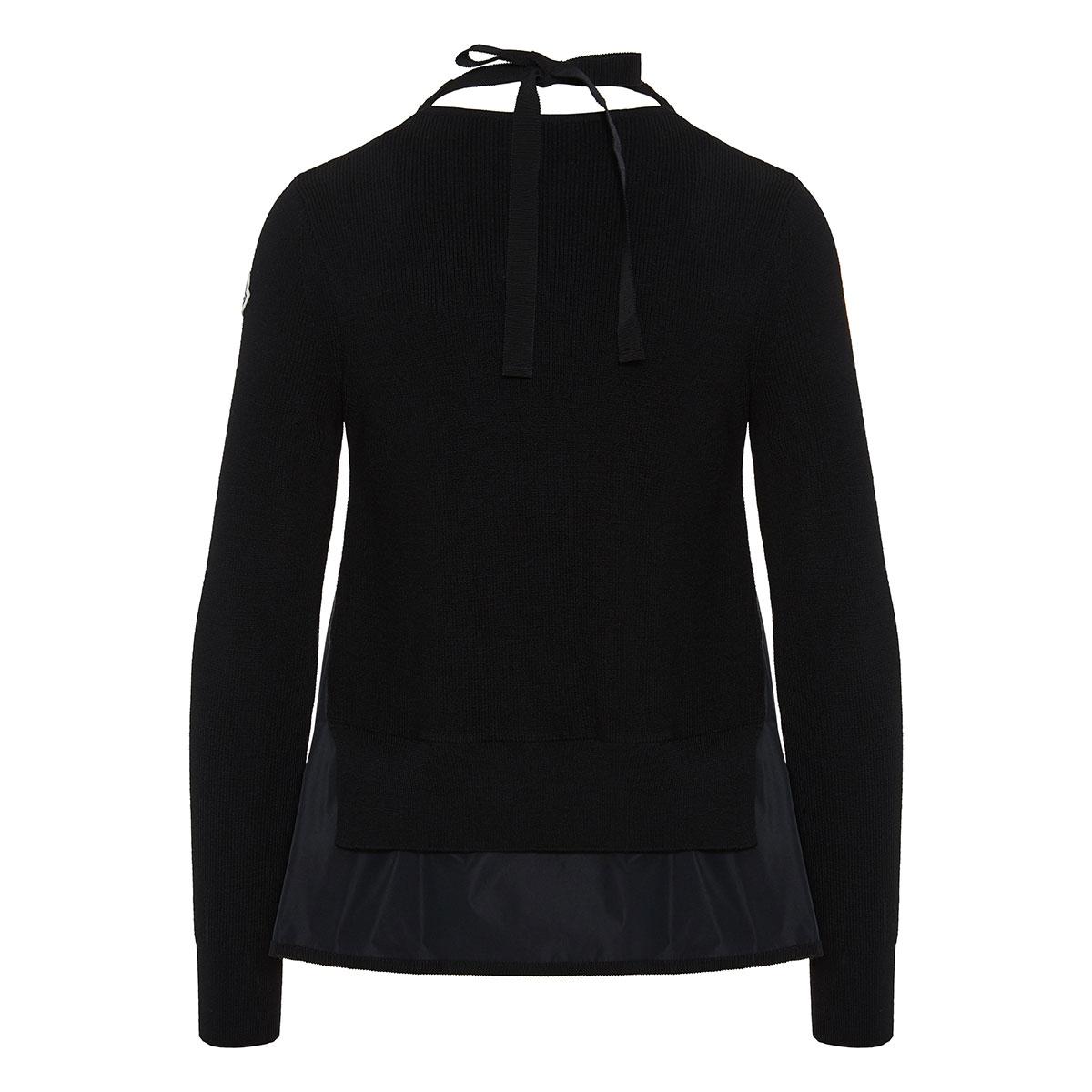 Nylon-paneled ribbed sweater