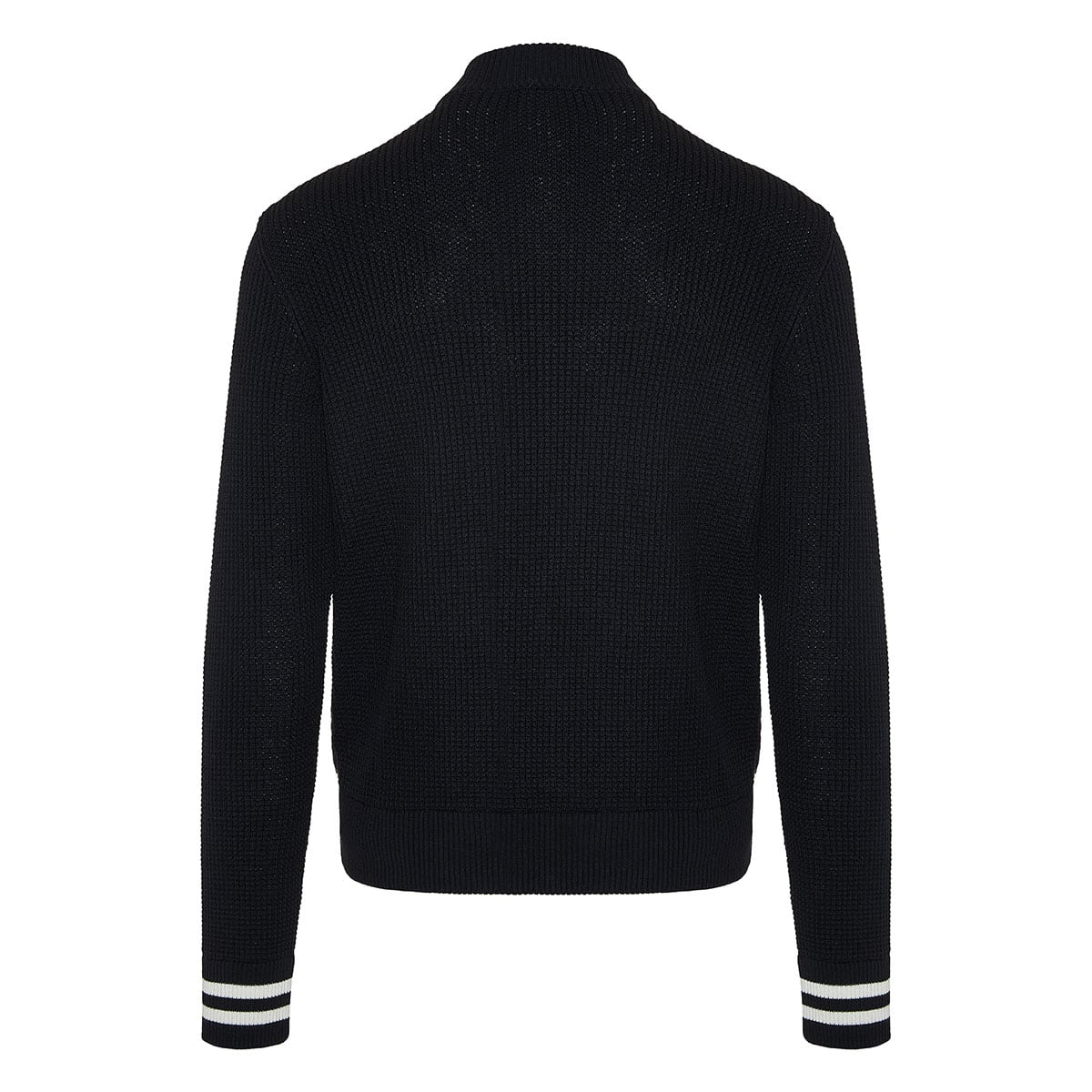 Quilted-panel knitted bomber jacket