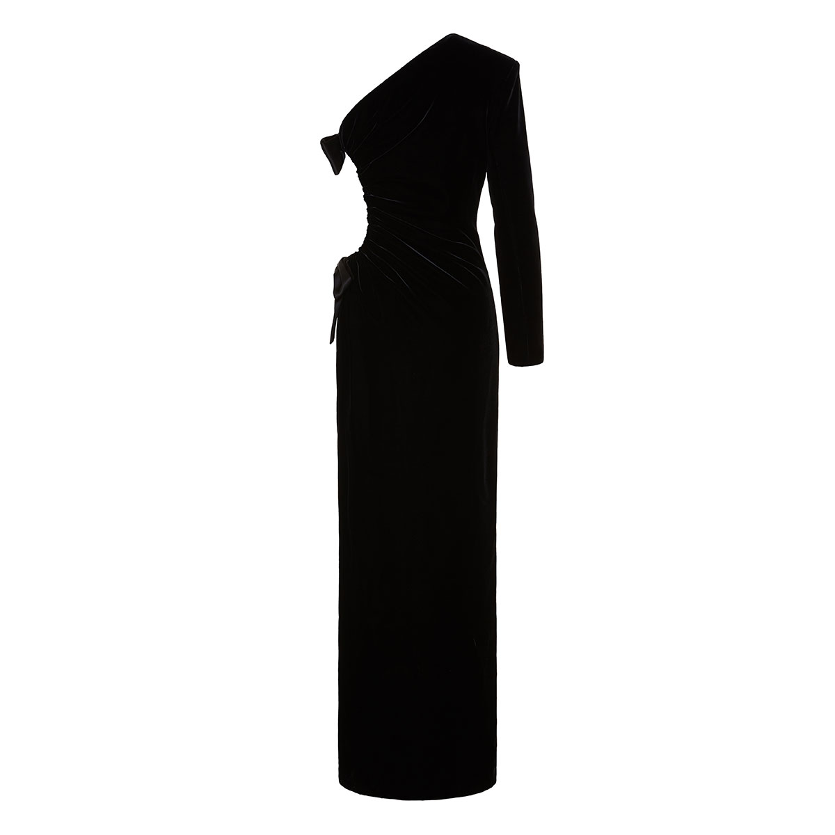 One-sleeved velvet gown with bows