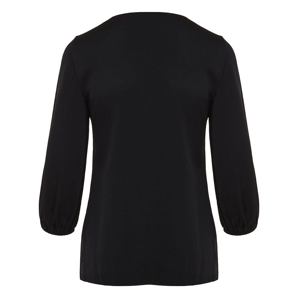Puff-sleeved silk blouse