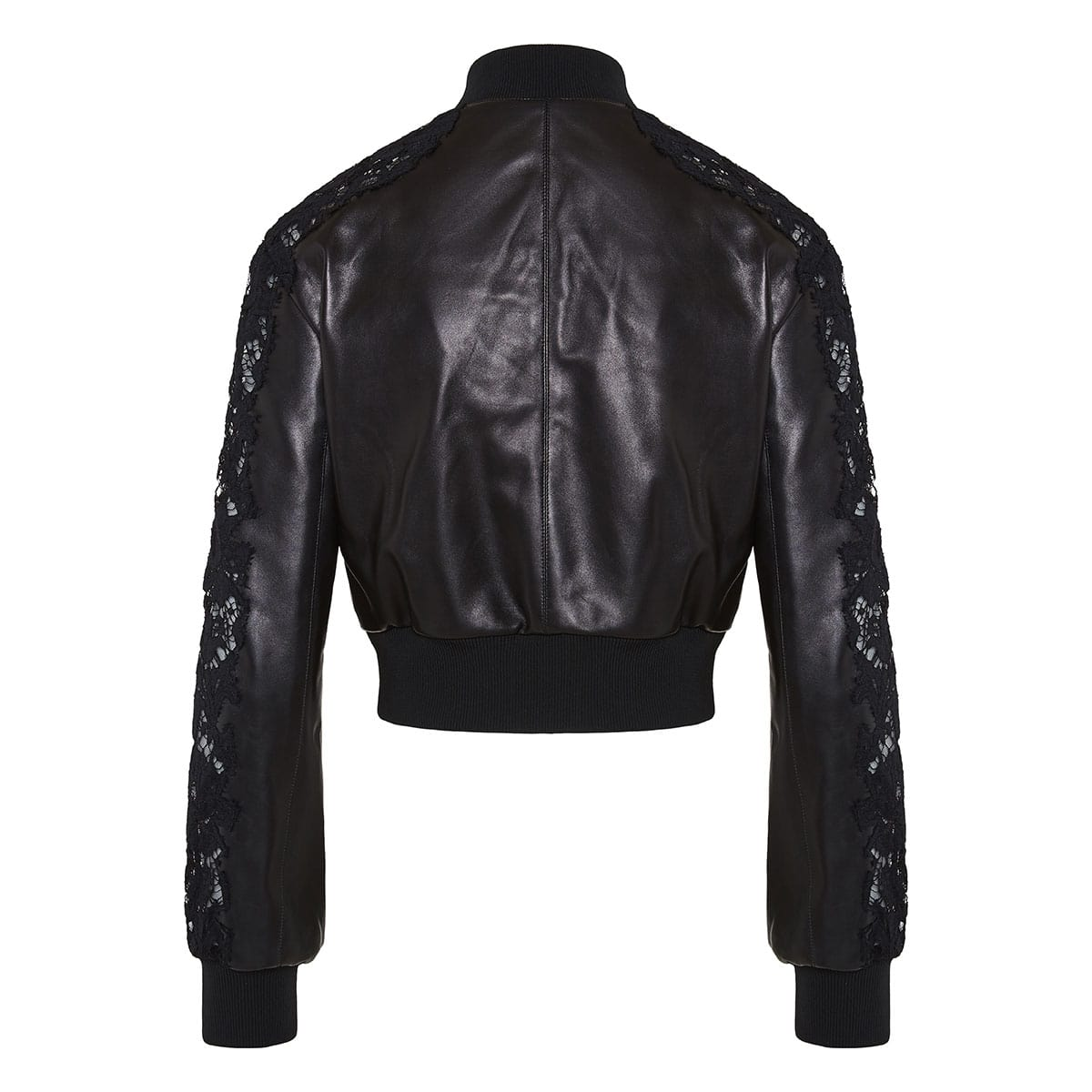 Lace-paneled leather bomber jacket