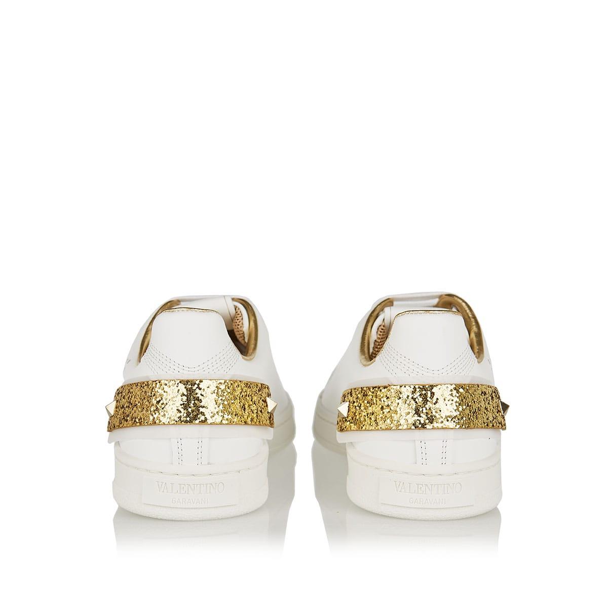 BACKNET glitter-paneled logo sneakers