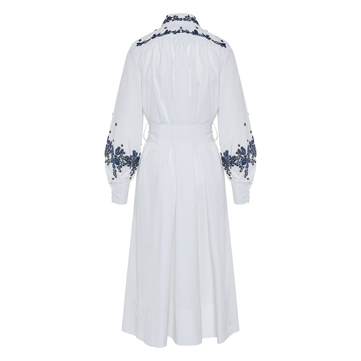 Bead-embellished poplin shirt dress