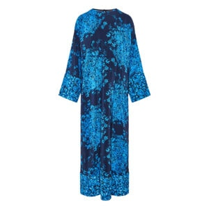 Bell-sleeved long printed dress