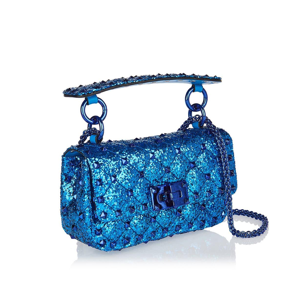 Rockstud Spike Micro glitter bag