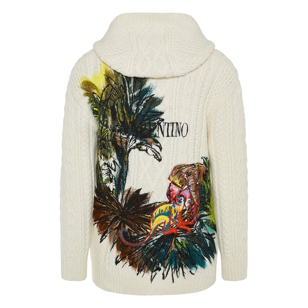Mural Jungle embroidered hooded cardigan