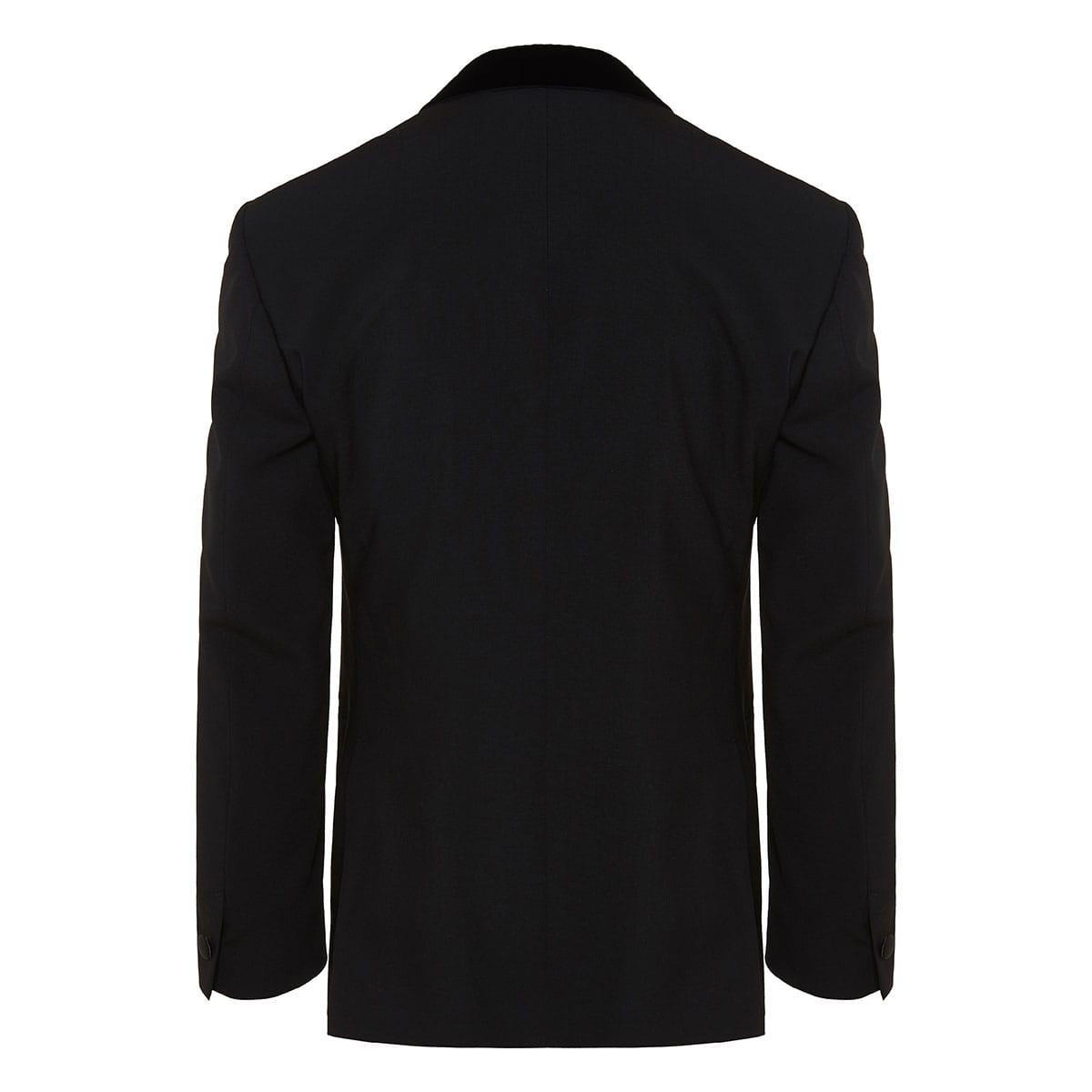 Satin-trimmed wool blazer