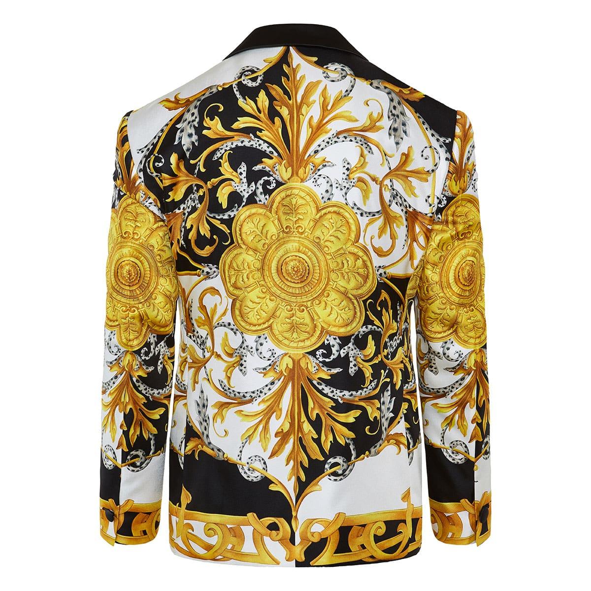 Baroque-print tuxedo blazer