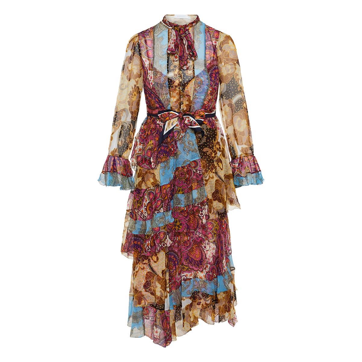 Fiesta Flounce printed tiered midi dress