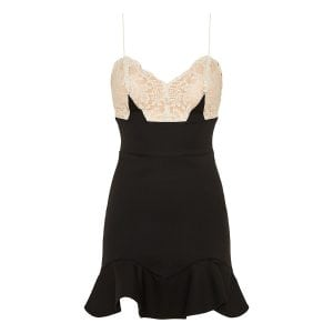 Lace-paneled ruffled mini dress