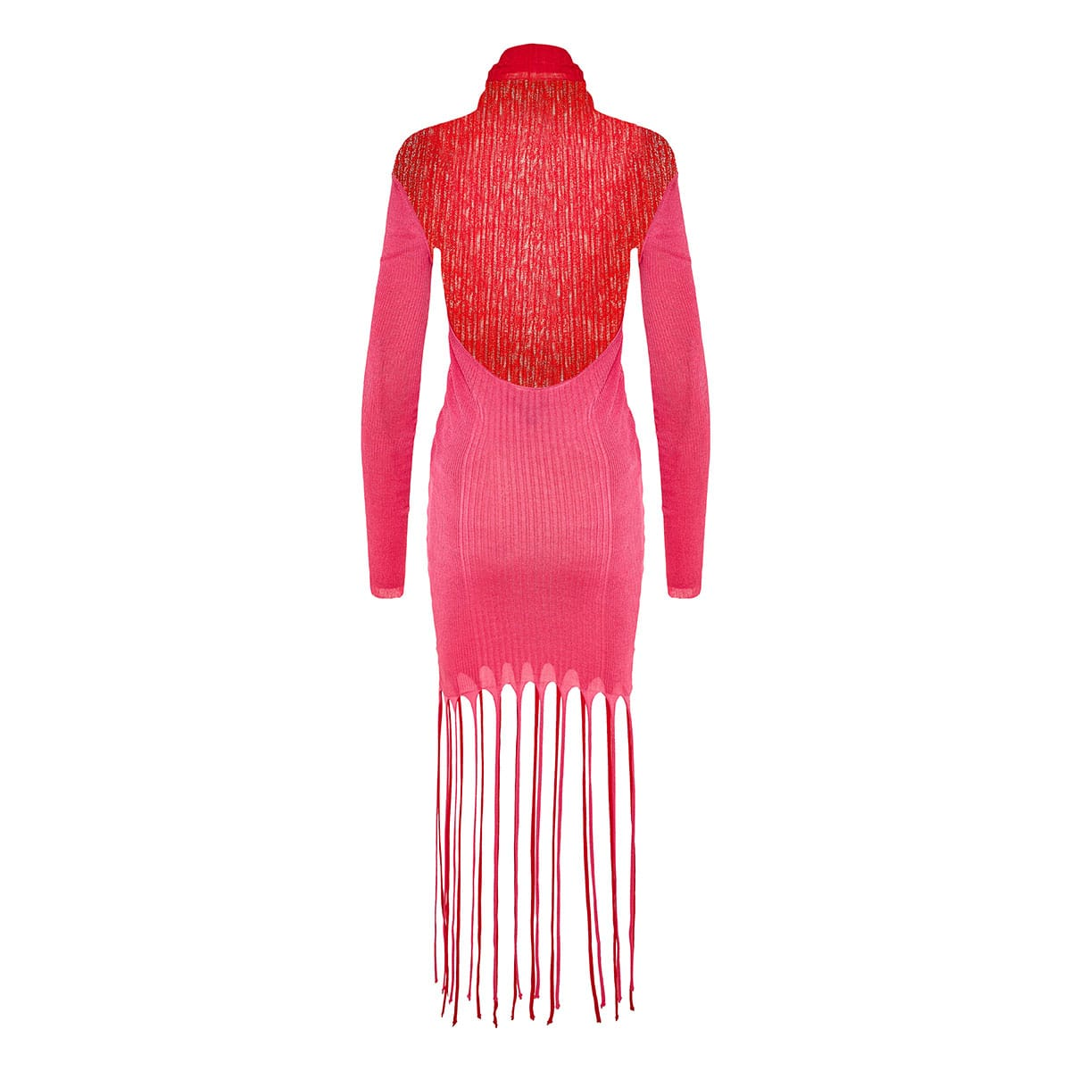 Fringed knitted top with open back