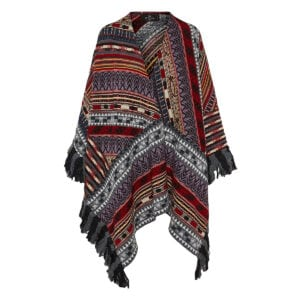 Patterned fringed cape