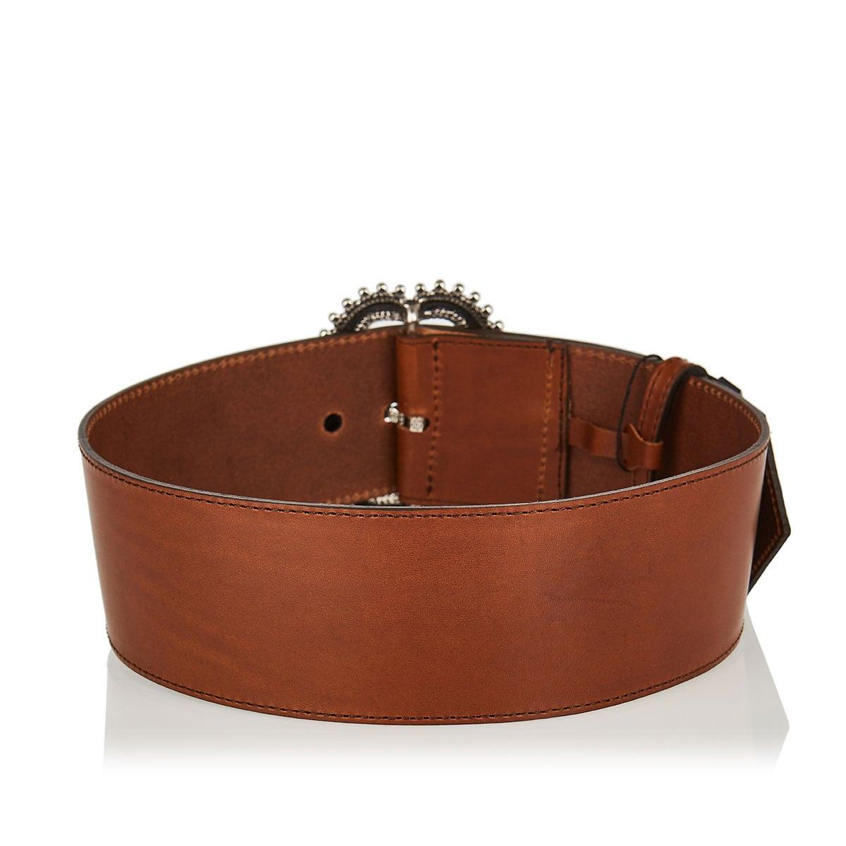 Jeweled-buckle wide belt