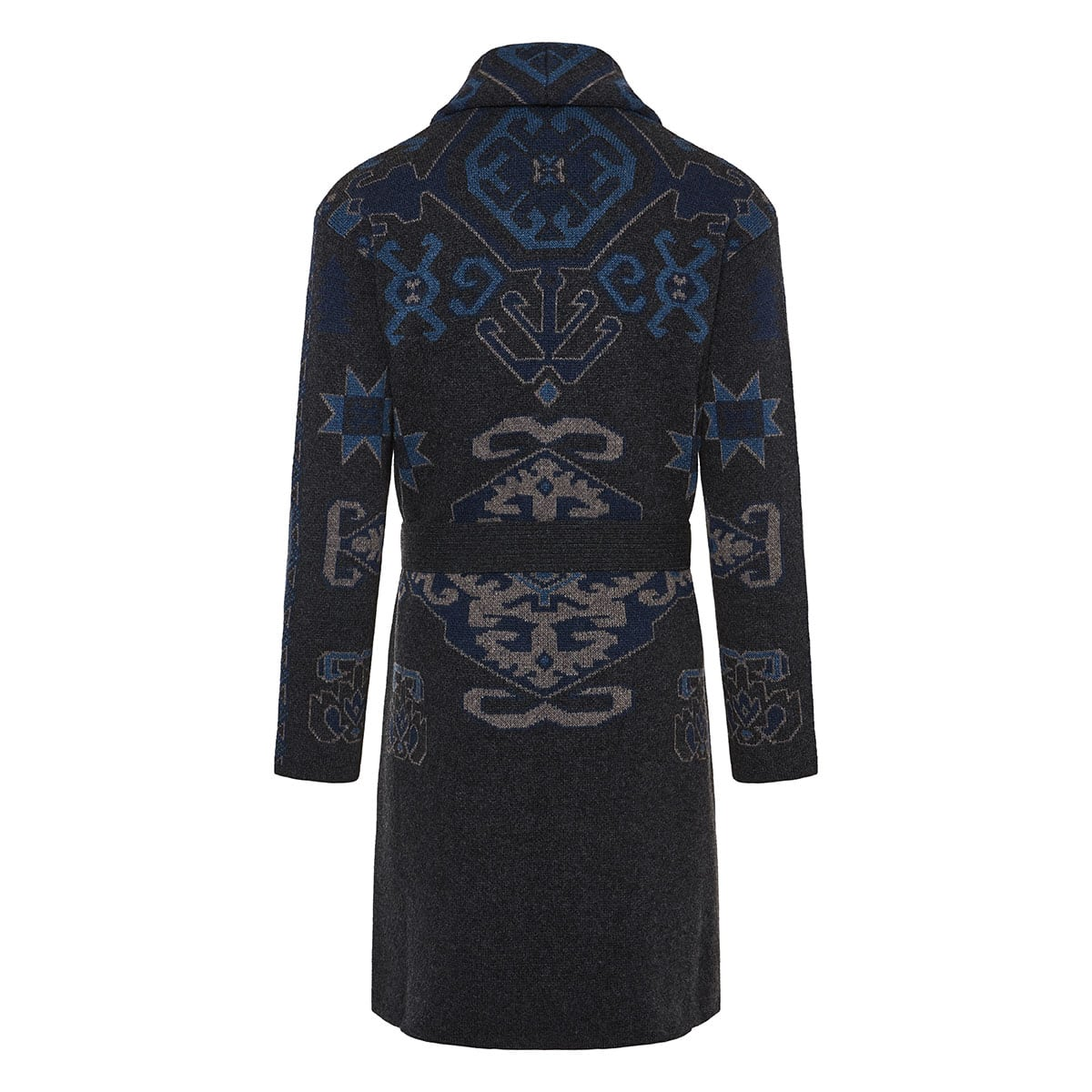 Oversized jacquard wool cardigan